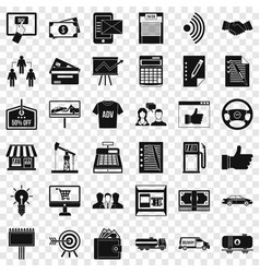 businessman icons set simple style vector image