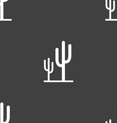 Cactus icon sign Seamless pattern on a gray vector