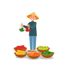 Chinese farmer selling fresh vegetables and fruits vector