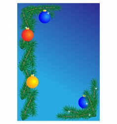 Christmas border on blue background vector image vector image