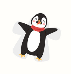 christmas penguin character cartoon cute vector image