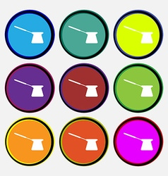 Coffee turk icon sign Nine multi colored round vector image