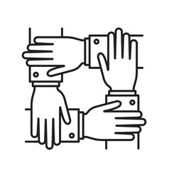 collaboration four human hands covering each other vector image