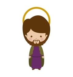 Colorful figure human saint joseph cartoon vector