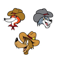 Cowboy coyote fox wolf vector