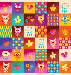 Cute kittens hearts and flowers pattern vector