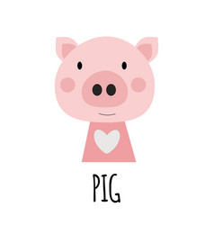 cute little pig animal icon vector image
