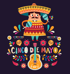 cute mexican man with maracas and mexican guitars vector image