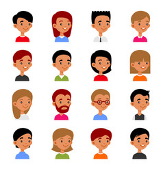 cute young man and woman avatars cartoon userpic vector image