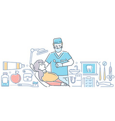 dentist at work - modern colorful line design vector image