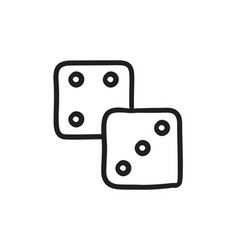 Dice sketch icon vector