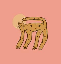 doodle night wild cat funny cute art print vector image