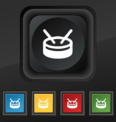 drum icon symbol Set of five colorful stylish vector image