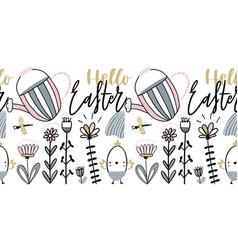 easter card with calligraphy lettering hello vector image