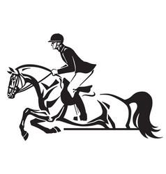 Equestrian horse show jumping logo vector