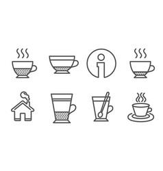 Espresso dry cappuccino and doppio icons double vector