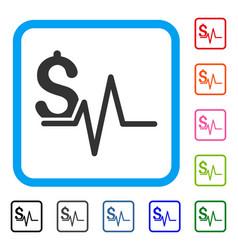 Financial pulse framed icon vector