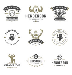 fitness center and sport gym logos and badges vector image
