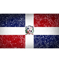Flags dominican republic with broken glass texture vector