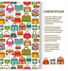 flat poster or banner template with hand bags vector image