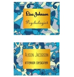 Floral business card blue and golden vector