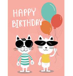 funny cats cartoon birthday card vector image