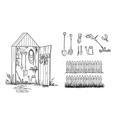 garden shed and set of geardening tools and lawn vector image