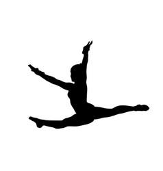 Girl gymnast doing jump split leap vector