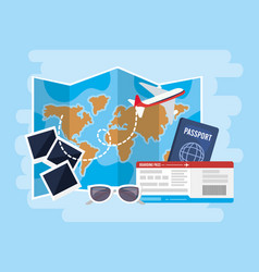 global map with airplane and passport with tickets vector image