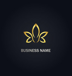 gold petal flower leaf beauty logo vector image