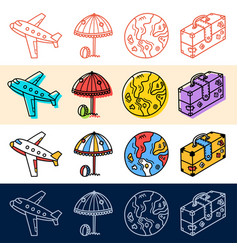 hand draw plane travel earth icon set in doodle vector image