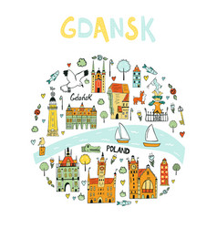 hand drawn abstract design gdansk poland vector image