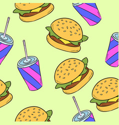 hand-drawn seamless american fast food pattern vector image