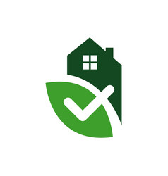 house with check mark template for healthy home vector image