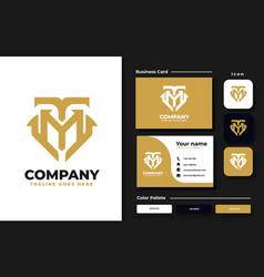 initial tm mt monogram logo design template vector image