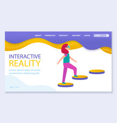 Interactive or virtual reality woman playing vector