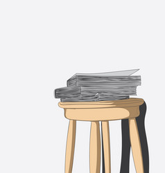 layered books and old chairs in the room vector image
