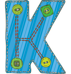 Letter k in patchwork style vector