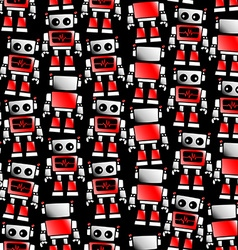 Little red and white robot seamless pattern vector image