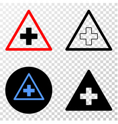 medical warning triangle eps icon with vector image