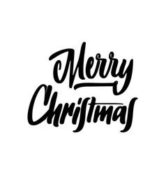 merry christmas lettering template monochrome vector image