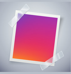 modern colorful photo frame attached with adhesive vector image