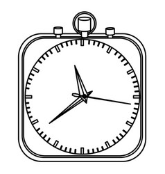 Monochrome stopwatch in shape square vector