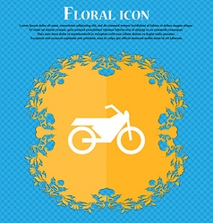 Motorbike icon sign Floral flat design on a blue vector image