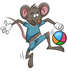 Mouse plays football cartoon ball vector