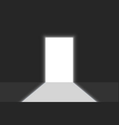 open door light in a dark room bright doorway vector image