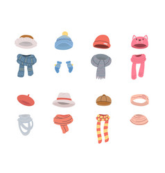 Pairs hats and scarves for cold winter weather vector