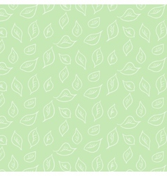 Pattern with white leaves on green background vector