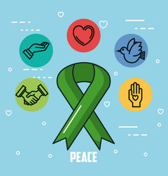 Peace postcard symbol set modern style vector