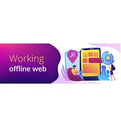 Progressive web app concept banner header vector
